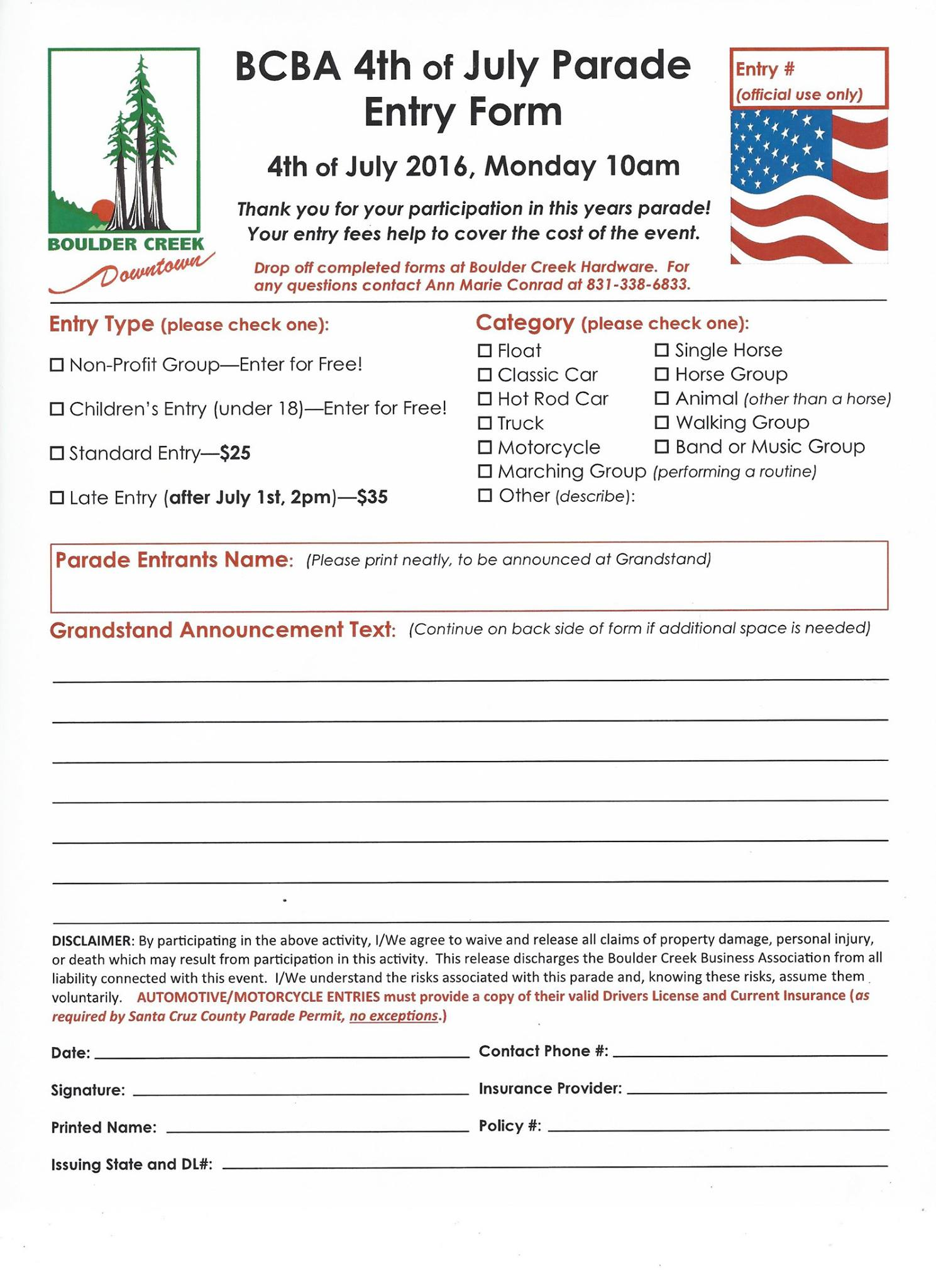 2016 Parade Entry FOrm